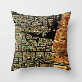 Paris old map year 1550 Throw Pillow