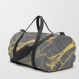 Matte black marble with gold Duffle Bag