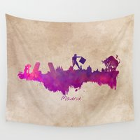 madrid Wall Tapestries featuring Madrid skyline city by jbjart