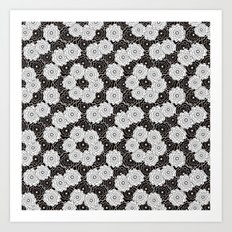 Floral black and white pattern. Art Print