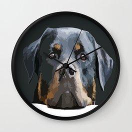 Rottweiler Portrait Vector Wall Clock