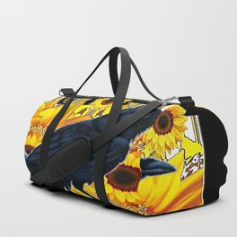 GRAPHIC BLACK CROW & YELLOW SUNFLOWERS ABSTRACT Duffle Bag