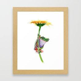 frog on a dandelion Framed Art Print