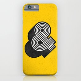 Ampersand black and white and yellow 3D typography design minimalist home decor wall decor iPhone Case