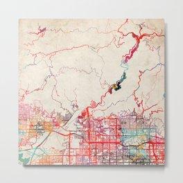 Azusa map California CA Metal Print
