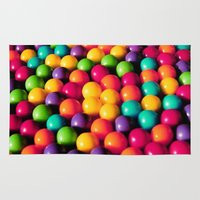 gumball Area & Throw Rugs featuring Rainbow Candy: Gumballs by WhimsyRomance&Fun