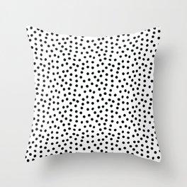 Minimal Black and White Polka Dots Throw Pillow