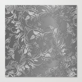 Luxury chic faux silver glitter floral Canvas Print