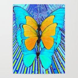 CONTEMPORARY BLUE & YELLOW BUTTERFLIES GRAPHIC ART Poster