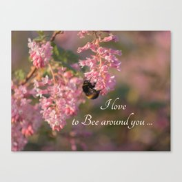 Nature bee on pink flowers with a beautiful quote Canvas Print