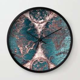 Antique World Map Pink Quartz Teal Blue by Nature Magick Wall Clock