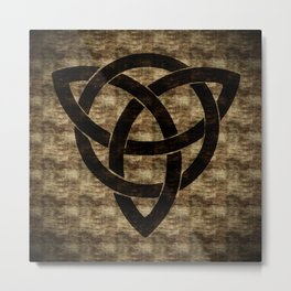 Wooden Celtic Knot Metal Print