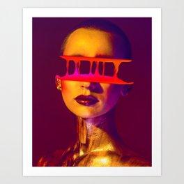 Half Face Glitch poster (gradient and liquid) Art Print