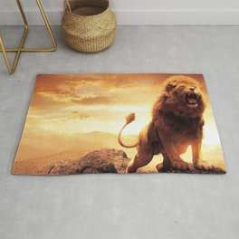 Magnificent Amazing Male African Lion Roaring On Hill Ultra HD Rug