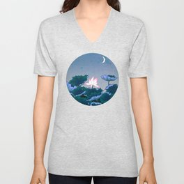 Minhwa: Lotus Pond at Night B Type Unisex V-Neck