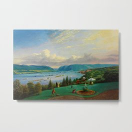 1872 Classical Masterpiece Landscape 'Newburgh on the Hudson River' by George Harvey Metal Print