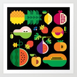 Fruit Medley Black Art Print
