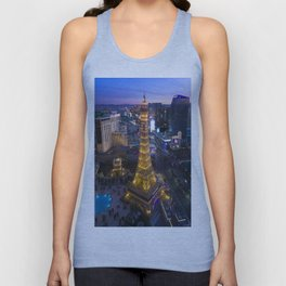 Aerial view of the Eiffel tower in Las Vegas Unisex Tank Top