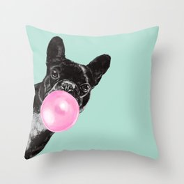 Bubble Gum Sneaky French Bulldog in Green Throw Pillow