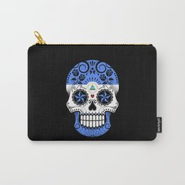 Sugar Skull with Roses and Flag of Nicaragua Carry-All Pouch