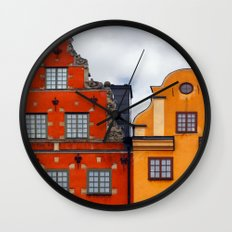 Stockholm. Colorful Houses in Gamla Stan Wall Clock