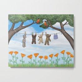 robins, poppies, & teddy bears on the line Metal Print