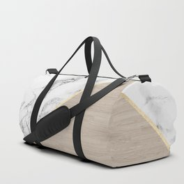 Modern white marble gold stripe wood color block Duffle Bag