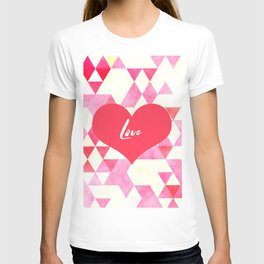Valentine's Diamond Pattern with Love Heart T-shirt