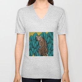 Jungle Cat   Leaves Unisex V-Neck