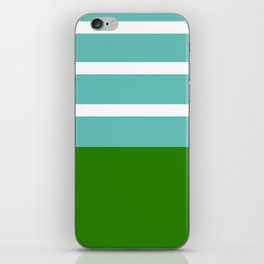 Summer Delight, teal, white and green iPhone Skin