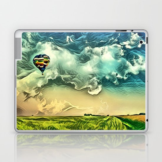Air Balloon in the Sky with Clouds over the Landscape Laptop & iPad Skin