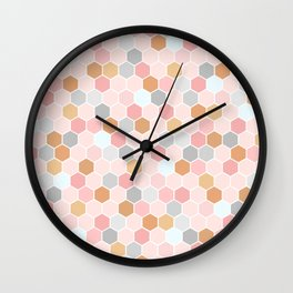 Pink Copper and Grey Tiles Wall Clock