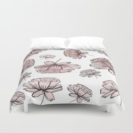 Hand Drawn Peonies Dusty Rose Duvet Cover