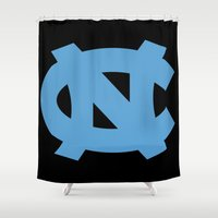 north carolina Shower Curtains featuring NCAA - North Carolina Tarheels by Katieb1013
