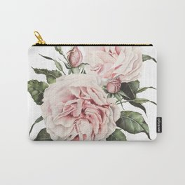 Pink Garden Roses Watercolor Carry-All Pouch