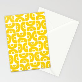 Groovy Mid Century Modern Pattern Yellow Stationery Cards