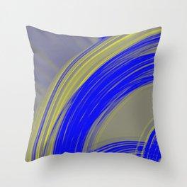 Gloomy semicircular lines of ultramarine metal with intersecting dark lines. Throw Pillow