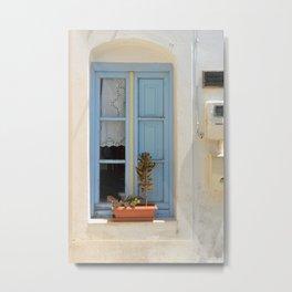 Blue Window - Milos - Landscape and Rural Art Photography Metal Print