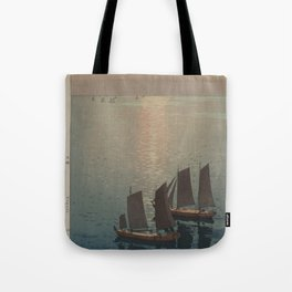 boats on the water woodcut Tote Bag