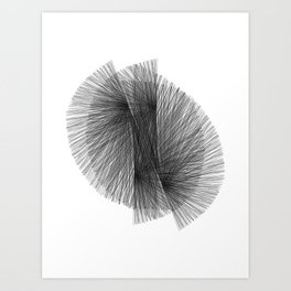 Black & White Radiating Lines Mid Century Modern Geometric Abstract Art Print