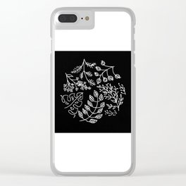Floral Wildflower Wreath Circular Illustration Clear iPhone Case