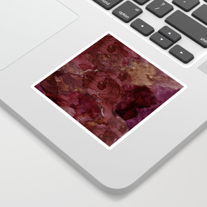 Rose, Burgundy and Merlot Watercolor Flowers Sticker