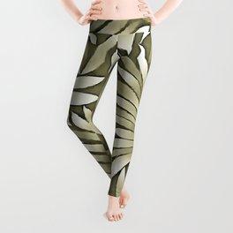 Stylized Leaves Agave Green Palette Leggings