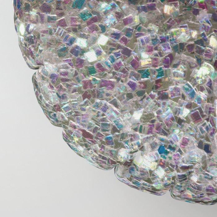Sparkly colourful silver mosaic mandala Floor Pillow