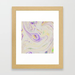 Modern pastel lavender purple yellow marble pattern Framed Art Print