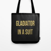 gladiator Tote Bags featuring Gladiator in a suit Gold by Luxe Glam Decor