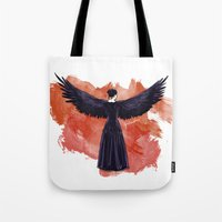 mockingjay Tote Bags featuring Mockingjay by Cyrilliart