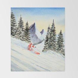The Skiing Santa Throw Blanket