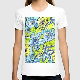 Turquoise, Yellow, and Green Floral T-shirt