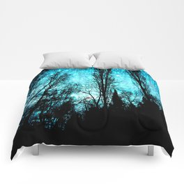 black trees turquoise teal space Comforters